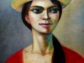 Delfina Rodríguez Martínez. La muchacha del sombrero florido. Mixta-lienzo 50x40 cm. 2020