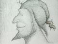 Reyecito pensador con máscara sonriente